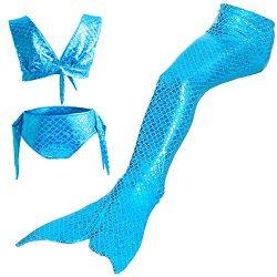 3PCS Girls' Swimsuit Mermaid Tail for Swimming Children Costume Swimwear Bikini Set 3-12 Y ...