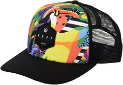 NEFF Men's Hot Tub Mesh Hat-Flat Billed Trucker Cap, Tropical Jungle, One Size