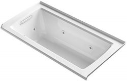 KOHLER K-1947-L-0 Archer 60″ x 30″ Alcove Whirlpool with Tile Flange and Left-Hand D ...