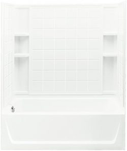 STERLING 71120116-0 Ensemble Bath and Shower Kit, 60-Inch x 32-Inch x 74-Inch, Left-Hand, White