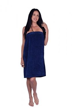 Women's Terry Velour Spa Wrap, 100% Turkish Natural Soft Cotton, Made in TURKEY (Navy)