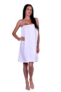 Women's Terry Velour Spa Wrap, 100% Natural Turkish Soft Cotton, Made in TURKEY (White)