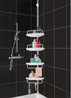 HomeHelper Tension Corner Shower Caddy, Rustproof Stainless Steel, 4 Positionable Shelves, Heigh ...