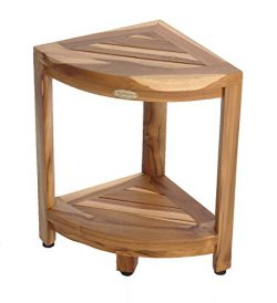 New- EcoDecors EarthyTeak FULLY ASSEMBLED 2-Tier Compact Teak Corner Shower Foot Stool With Shel ...