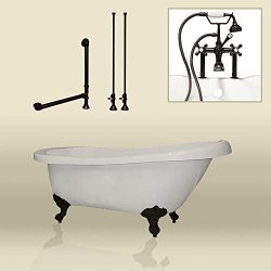 67″ Acrylic Slipper Clawfoot Tub & Oil Rubbed Bronze Complete Deck Mount Plumbing Pack ...