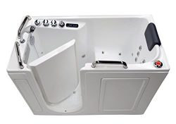27″ x 53″ Left Drain Air & Whirlpool Fully Loaded Walk In Bathtub 2753 White Tub