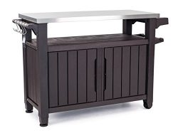 Keter Unity XL Indoor Outdoor Entertainment BBQ Storage Table/Prep Station/Serving Cart with Met ...