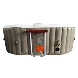 ALEKO HTIO2BRWH Oval Inflatable Hot Tub Spa With Drink Tray and Cover 2 Person 145 Gallon Brown  ...