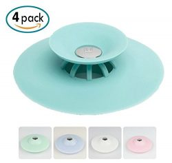 Borang 4pcs Shower Drain Stopper Plug Bathtub Cover Portable Silicone Hot Bath Tub Sink Strainer ...