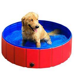 GRULLIN Pet Swimming Pool Portable Foldable Pool Dogs Cats Bathing Tub Bathtub Wash Tub Water Po ...