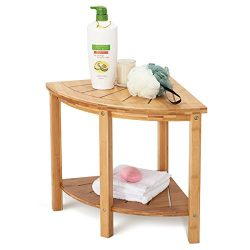 OasisSpace Corner Shower Stool, Bamboo Shower Bench with Storage Shelf, Wooden Spa Bath Organize ...