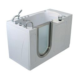Ella H03107 Elite Acrylic Soaking+Heated Seat Walk-in Bathtub with Left Inward Swing Door, Therm ...