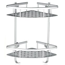 Lancher Bathroom Shelf (No Drilling) Durable Aluminum 2 tiers shower shelf Kitchen storage baske ...