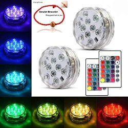 Underwater Submersible LED Lights Waterproof Multi Color Battery Operated Remote Control Wireles ...