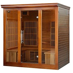 Heat Wave Elite 4 Person Sauna FAR Infrared Red Cedar Wood 9 Carbon Heaters 2410 Watt 20 amp Blu ...