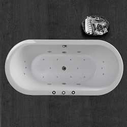 WOODBRIDGE B-0030 / BTS1606 White 67″ x 32″ Deluxe Whirlpool Water Jetted and Air Bu ...