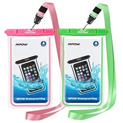 Mpow Fluorescent Waterproof Phone Pouch, Universal IPX8 Waterproof Case Dry bag with Extra Wrist ...