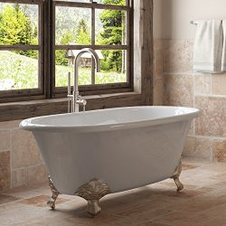 60″ Cast Iron Double Ended Clawfoot Tub Complete Brushed Nickel Modern Freestanding Plumbi ...