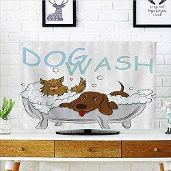 L-QN Television Protector Dogs Bathing in Bathtub Time Grooming Clean Pets Theme Television Prot ...