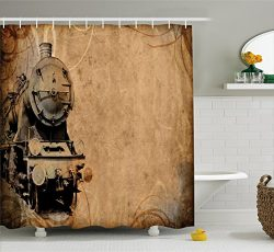 Ambesonne Steam Engine Shower Curtain Set, Antique Old Iron Train Aged Sepia Grunge Style Design ...