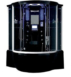 Florence Steam Shower Sauna With Jetted jacuzzi Whirlpool massage (Black)