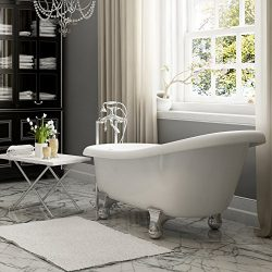 Luxury 60 inch Modern Clawfoot Tub in White with Stand-Alone Freestanding Tub Design, Includes M ...