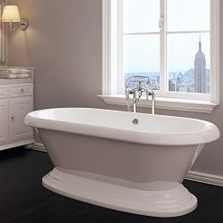 Luxury 60 inch Freestanding Tub with Vintage Tub Design in White, Includes Pedestal Base and Pol ...