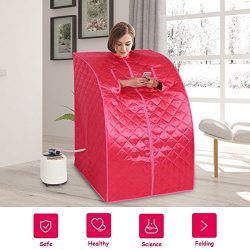 MD Group Portable Steam Sauna Tent Household 2L Pink Full Body Detox Massage Weight Loss with Chair