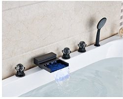 Gowe Oil Rubbed Bronze Waterfall LED Spout Widespread 5pcs Bathtub Faucet With Hand Shower
