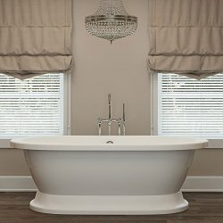 Luxury 67 inch Freestanding Tub with Modern Tub Design in White, Includes Pedestal Base and Poli ...