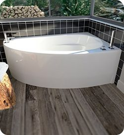 Neptune 15.15516.500030.10 Wind WI60D 60″ White Corner Bathtub with Skirt, Right Side Drai ...