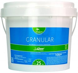 Rx Clear Stabilized Granular Chlorine | One 25-Pound Bucket | Use As Bactericide, Algaecide, and ...