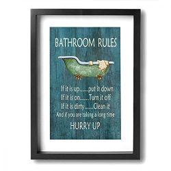 Art-logo Vintage Style Bathroom Rules Bathtub Shower Canvas Wall Art Decor for Bathroom Funny Re ...