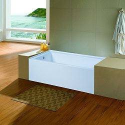 Dyconn Faucet Avalon 5ft Acrylic Rectangular Alcove Apro-Front Non-Whirlpool Bathtub in White (L ...