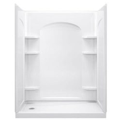 STERLING 72232100-0 Ensemble 60-Inch x 1-1/4-Inch x 72-1/2-Inch Direct-to-Stud Shower Wall in Wh ...