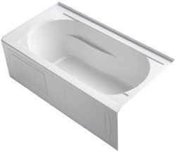 KOHLER 1184-RAW-0 Devonshire 60-Inch x 32-Inch Alcove Bath with Bask Heated Surface, Integral Ap ...