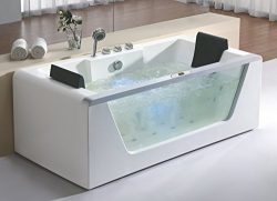 EAGO AM196ETL 6′ Clear Rectangular Acrylic Whirlpool Bathtub for Two, White