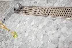 Royal Linear Shower Drain Stainless Steel Traditional Square By Serene Steam 35 5/8