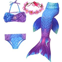 LILYFUN 3PCS Girls Mermaid Tail Swimsuit for Swimming Bikini Princess Can Add MonoFins