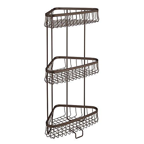 Interdesign york lyra free standing bathroom or shower - Free standing corner bathroom shelves ...