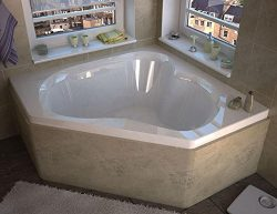 Spa World Venzi Vz6060c Tovila Corner Soaking Bathtub, 60×60, Center Drain, White
