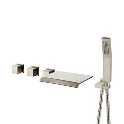 Shower System Brushed Nickel, Luxury Bathroom Wall Mount Bathtub Faucet, Widespread Waterfall Tu ...