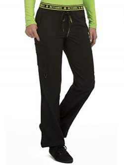 Med Couture Women's 'Activate' Flow Yoga Cargo Scrub Pant, Black, X-Large Petite