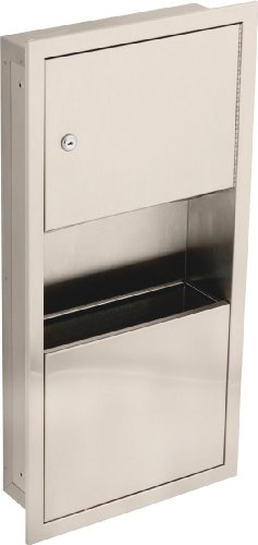Delta Faucet 45568-SS Small Stainless Steel Recessed Towel Dispenser and Waste Receptacle, Stainless