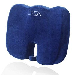 CYLEN -Memory Foam Bamboo Charcoal Infused Ventilated Orthopedic Seat Cushion for Car and Office ...
