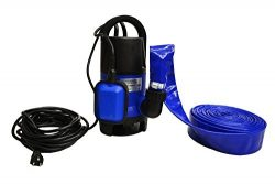 Hot Tub and Pool Submersible Drain Pump and 25′ Water Hose (Up To 2,000 Gallons Per Hour)