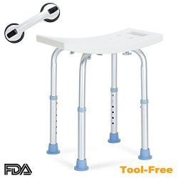 OasisSpace Shower Chair, Adjustable Bath Stool with Free Assist Grab Bar – Medical Tool Fr ...