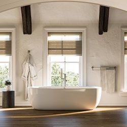 MAYKKE Bexley 72″ Modern Oval Acrylic Freestanding Bathtub | White Tub with Rim for Bathro ...