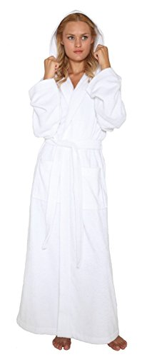 Arus Women's Pacific Style Full Length Hooded Turkish Cotton Bathrobe P/S White
