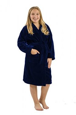 Velour Kids Spa Towels for Boys Robes, Navy, Medium